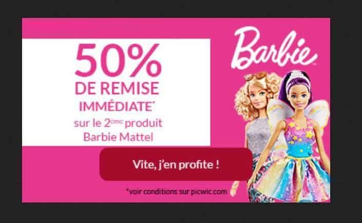 50% de remise sur le second jouet Barbie