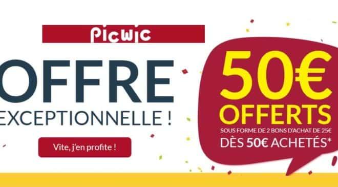 50€ d'achat sur Picwic 50€ remboursés en 2 bons d'achat