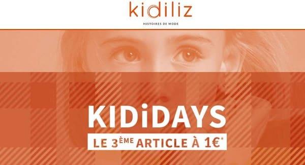 Kididays Kidiliz Votre 3ème Article à 1€