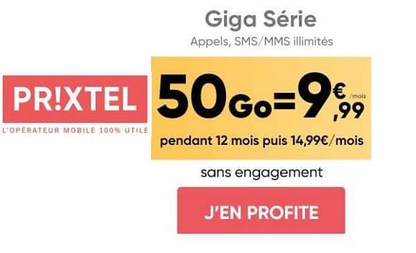 Vente Flash Forfait Prixtel 50go Pour 9,99€ Mois En Tout Illimité