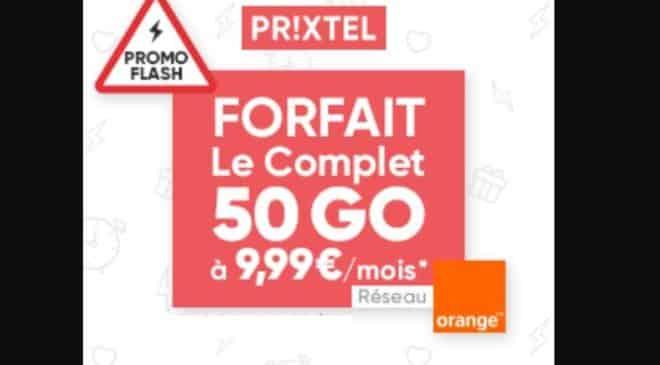 Vente Flash forfait Prixtel 50Go pour 9,99€