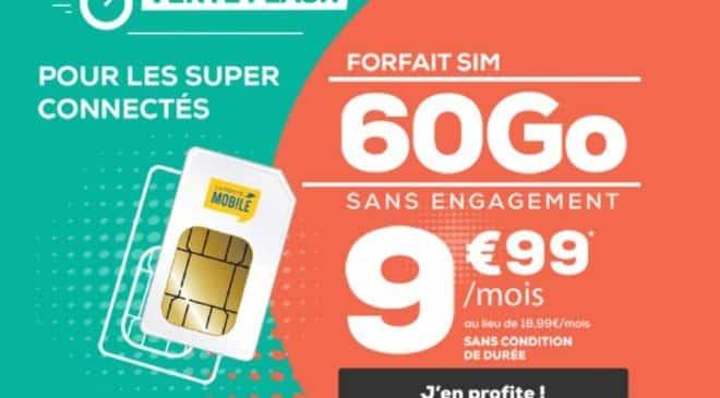 Vente flash La Poste Mobile 9,99€ forfait 60Go A VIE