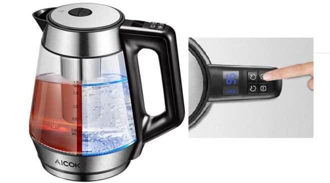 bouilloire électrique avec infuseur à thé amovible en verre Aicok