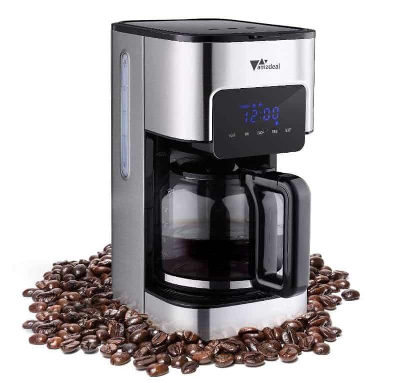 cafetière filtre 12 tasses programmable Amzdeal avec écran tactile