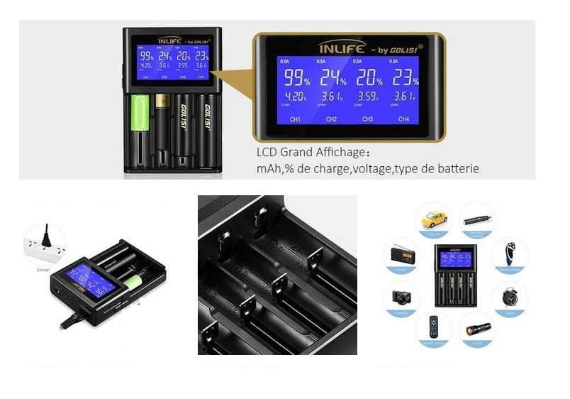 chargeur de piles GOLISI S4 avec écran LCD