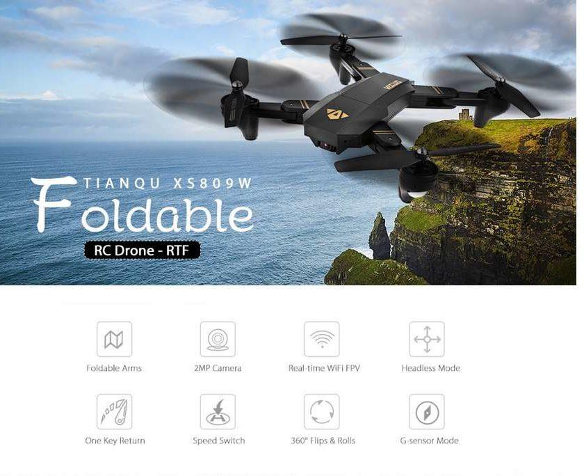drone avec camera et stabilisateur altitude TIANQU XS809W.com