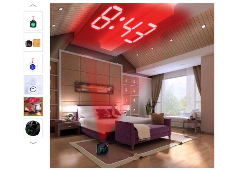 réveil avec projection heure , thermomètre et lecture de l'heure