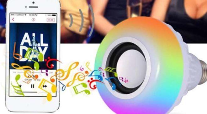 smart-ampoule enceinte Bluetooth contrôlée via smartphone ou télécommande