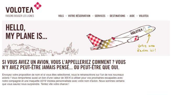 votre nom sur un avion Volotea + bon d'achat de 300€ + maquette A319 Volotea personnalisée