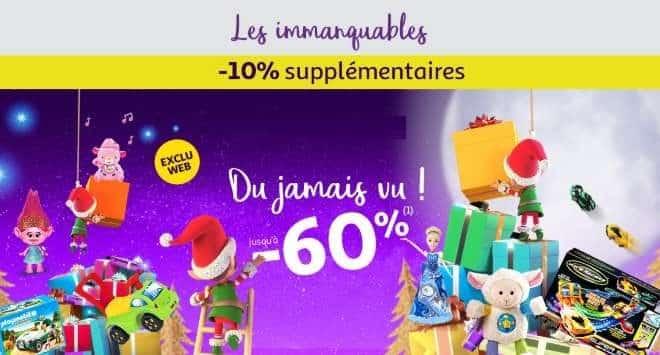 10% de remise en plus sur les jouets et jeux en promos sur Auchan