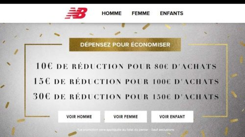 10€ à 30€ de remises sur le site New Balance