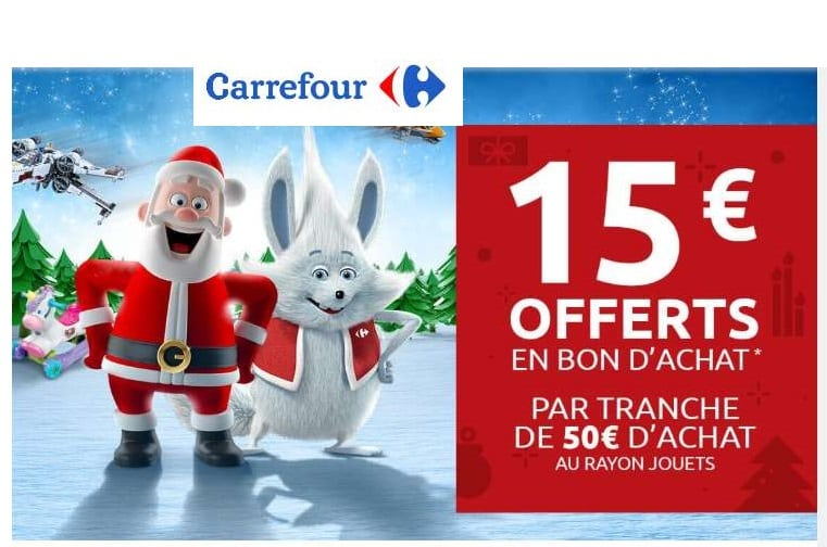 15€ offerts sur le rayon jouets Carrefour