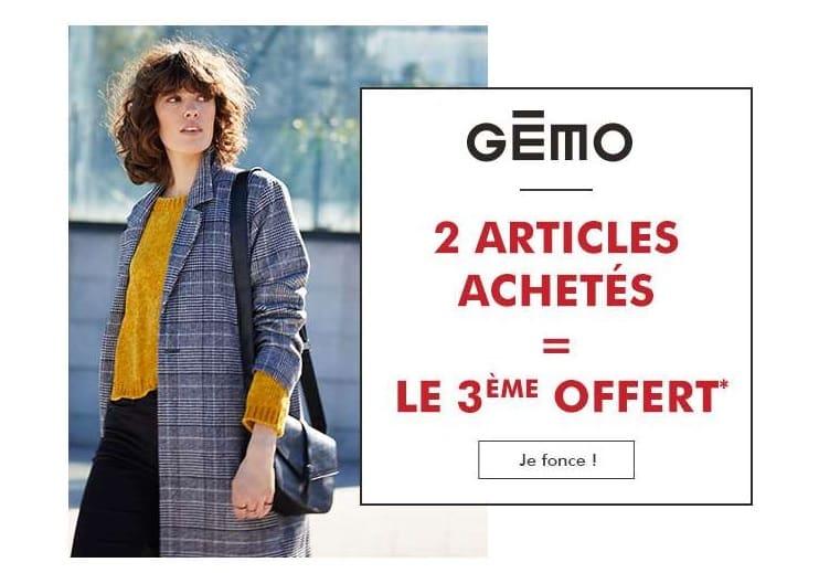 2 articles achetés sur Gémo = le troisième gratuit
