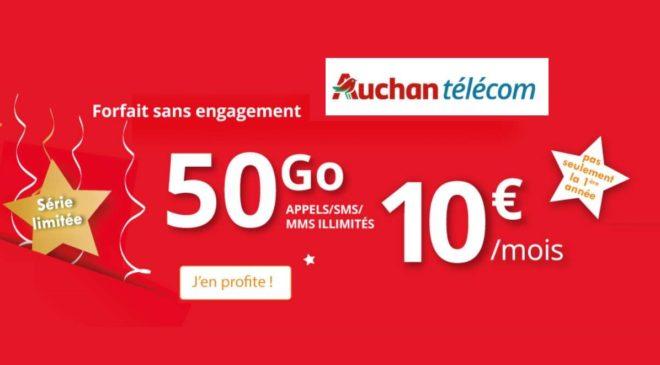 Auchan Telecom 50go pour 10€ par mois (A VIE) appels/sms/mms illimités