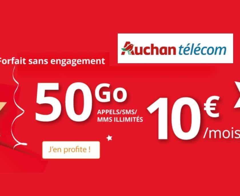 Auchan Telecom 50go pour 10€ par mois