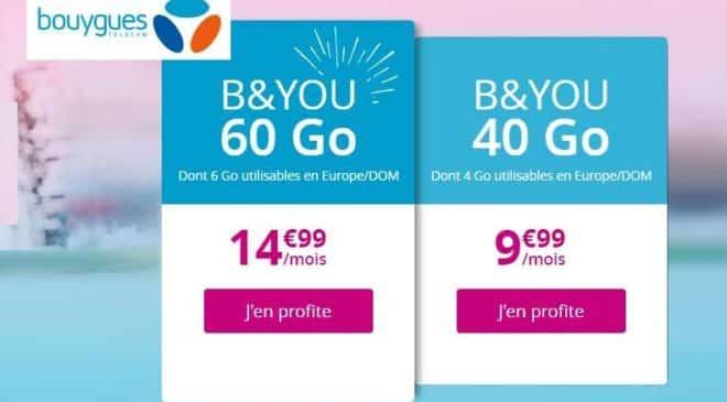 Vente flash forfait B&You 60 Go à 14,99€