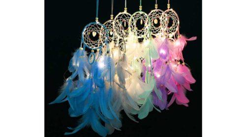 attrape rêve en plume et LED fait main Decdeal