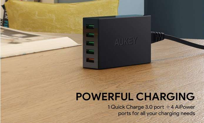 chargeur 5 ports USB Aukey dont 1 Quick Charge 3