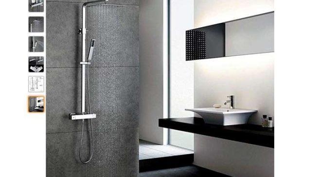 colonne de douche thermostatique avec douche italienne et douchette Homelody