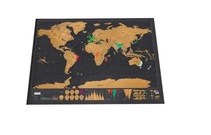 la carte du monde à gratter 42 x 32 cm