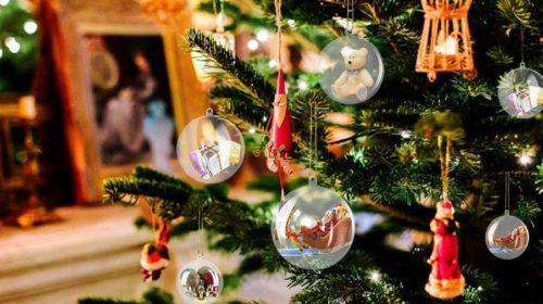 lot de 12 boules de Noel transparentes vides pas cher