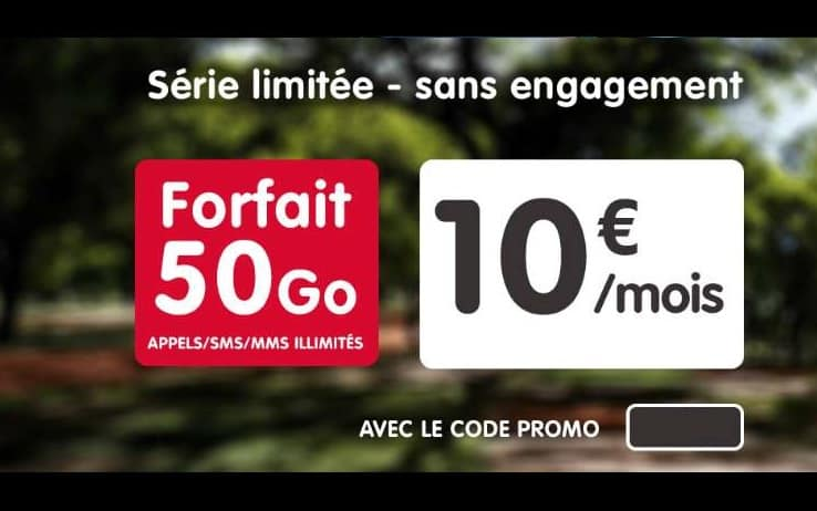 Forfait 50Go NRJ Mobile pour seulement 10€ par mois