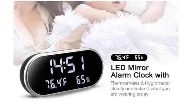 réveil LED Kranich grand écran miroir avec température, humidité