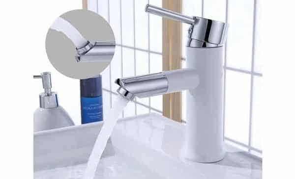 robinet de salle de bain blanc avec bec pivotant homelody