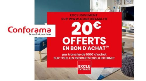 100€ achat sur Conforama = 20€ en 1 bon d'achat