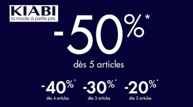 50% de remise sur Kiabi dès 5 articles