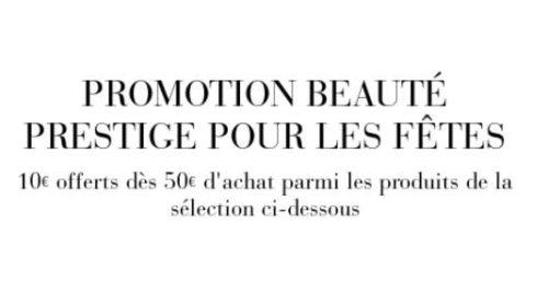 Beauté Prestige 10€ de remise dès 50€ d'achat