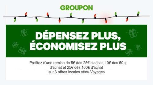 Code promo Groupon remise de 5€ à 25€