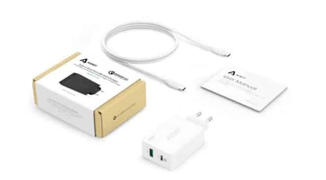 chargeur mural 2 ports USB Aukey USB 3.0 et USB C