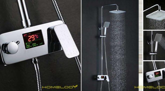 99,99€ colonne de douche avec affichage température LCD Homelody (3 sorties, hauteur réglable, sans piles) – livraison gratuite