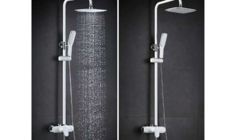 colonne de douche laqué blanc hauteur réglable Homelody en vente flash