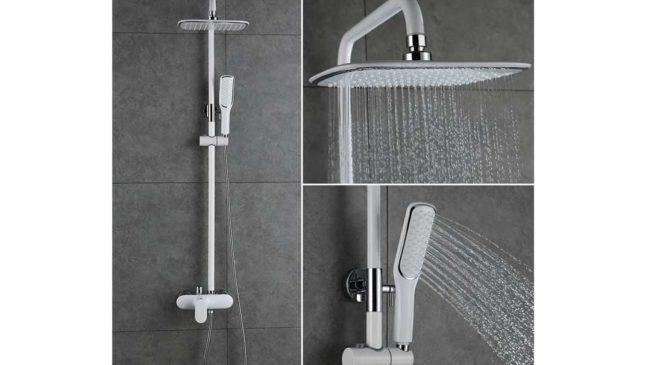 colonne de douche laqué blanc hauteur réglable Homelody