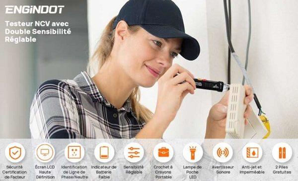 détecteur de tension sans contact avec écran ENGiNDOT VT02