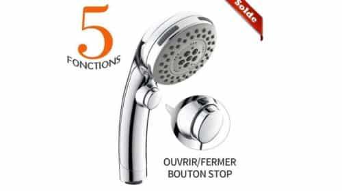 douchette de douche 5 jets avec bouton arrêt Homelody