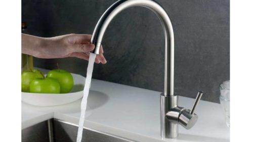 robinet de cuisine acier chrome brossé anti-choc, anticalcaire, anti-empreinte Homelody