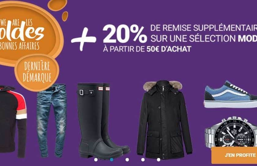 20% réduction supplémentaire sur les soldes Mode de Rue Du Commerce