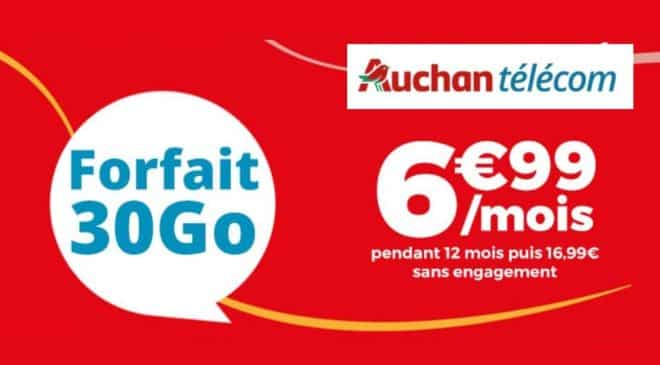 Forfait Auchan Telecom 30Go à 6,99€