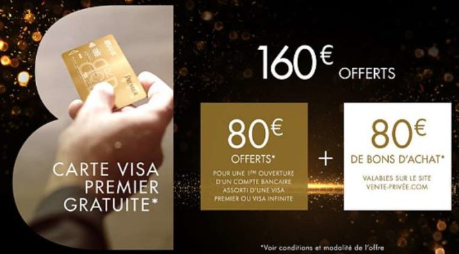 Vente privée BforBank 80€ offerts 80€ de bon d'achat vente privée