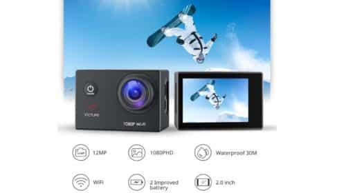 caméra sport Victure Wifi Full HD 1080p + 21 accessoires et 2 batteries