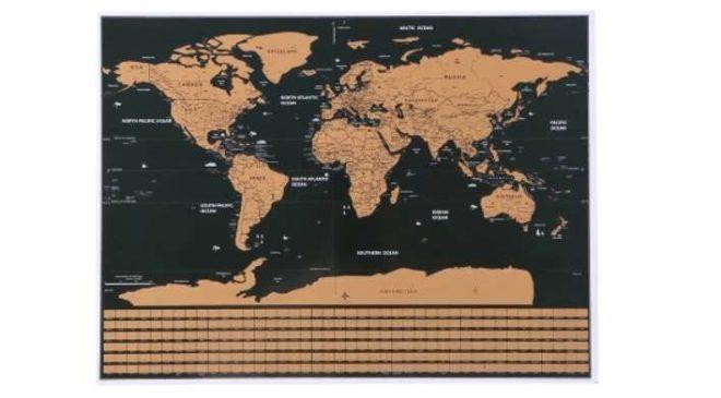 carte du monde à gratter 42 x 30 cm