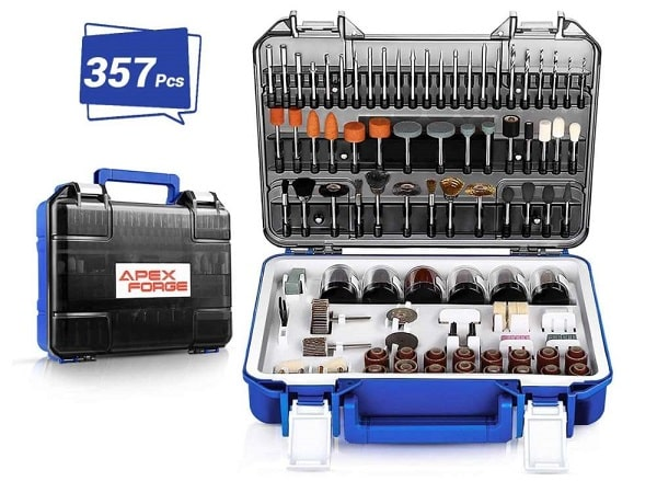 kit de 357 accessoires apexforge pour outil multifonctions rotatif
