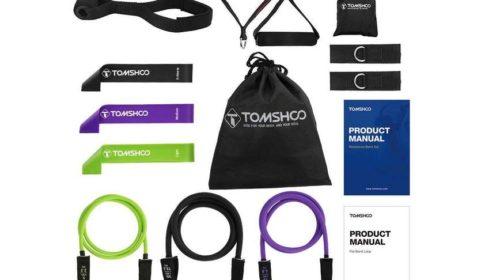kit fitness 14 pièces bandes de résistance, ancres de porte, poignées Tomshoo