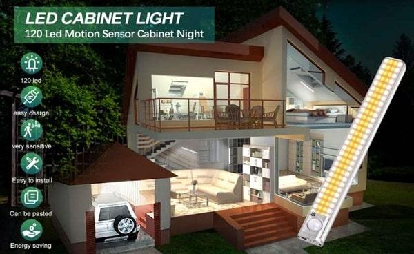 lampe avec détecteur de mouvement rechargeable 120 led sans fil