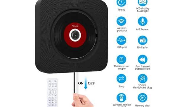 lecteur de CD portable Sawake avec hautparleur intégré, Bluetooth, télécommande, ports USB SD, FM