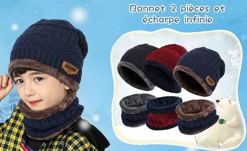 lot bonnet + tour de cou doublure intérieure polaire enfant Vbiger