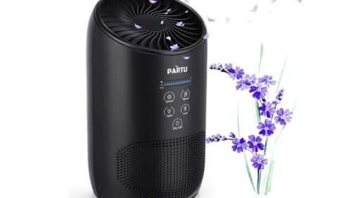 purificateur d'air filtre HEPA et charbon actif Partu avec fonction aromathérapie
